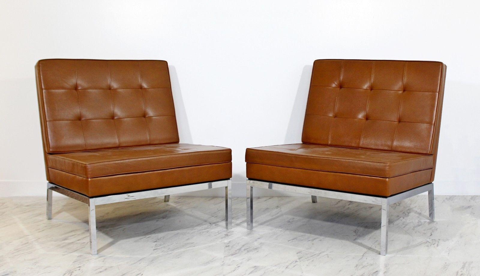 Superior Mid Century Modern Pair Vintage Knoll Chrome Leather