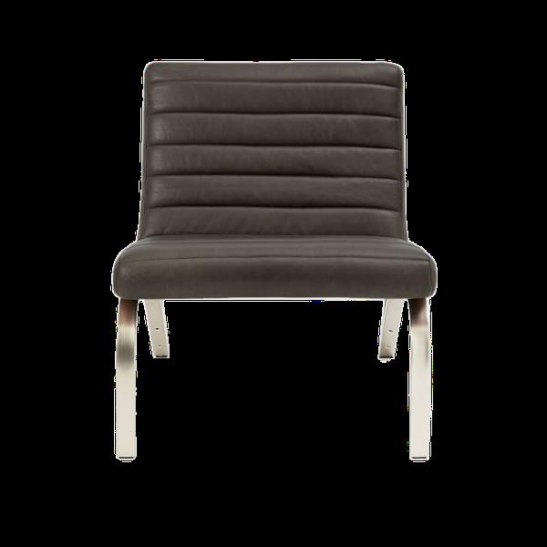 Emil Leather Slipper Chair, Charcoal | Decorist