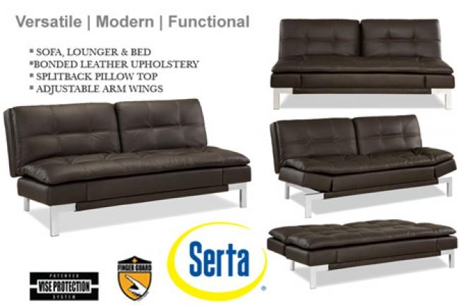 Brown Leather Sofa Bed Futon   Valencia Serta Euro Lounger   The
