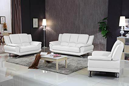 Amazon.com: Matisse Milano Contemporary Leather Sofa Set (White