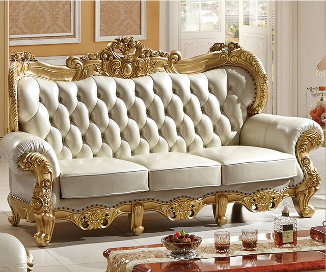 Carved solid wood and Italian leather sofa sets 9808-in Living Room