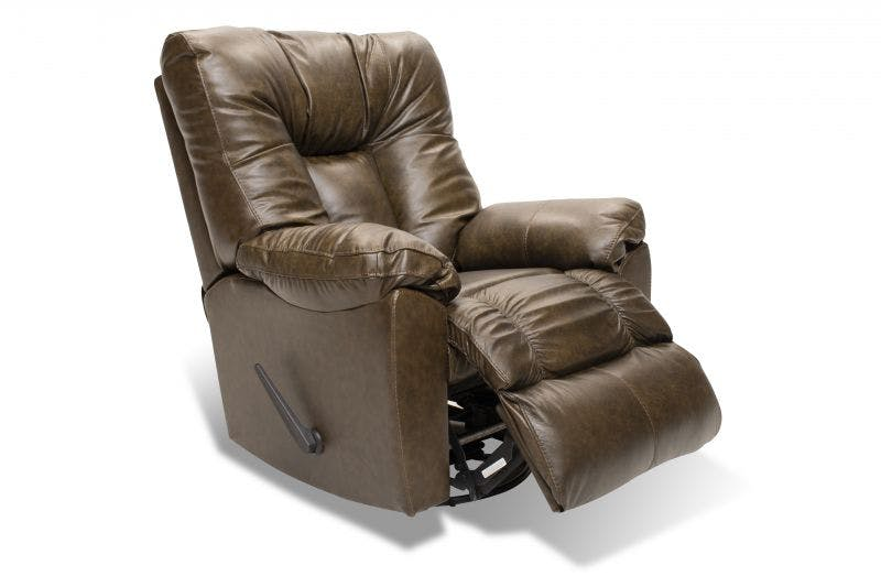 Franklin Connery Black Bean Leather Swivel Recliner