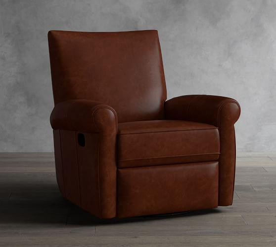 Grayson Leather Swivel Recliner | Pottery Barn