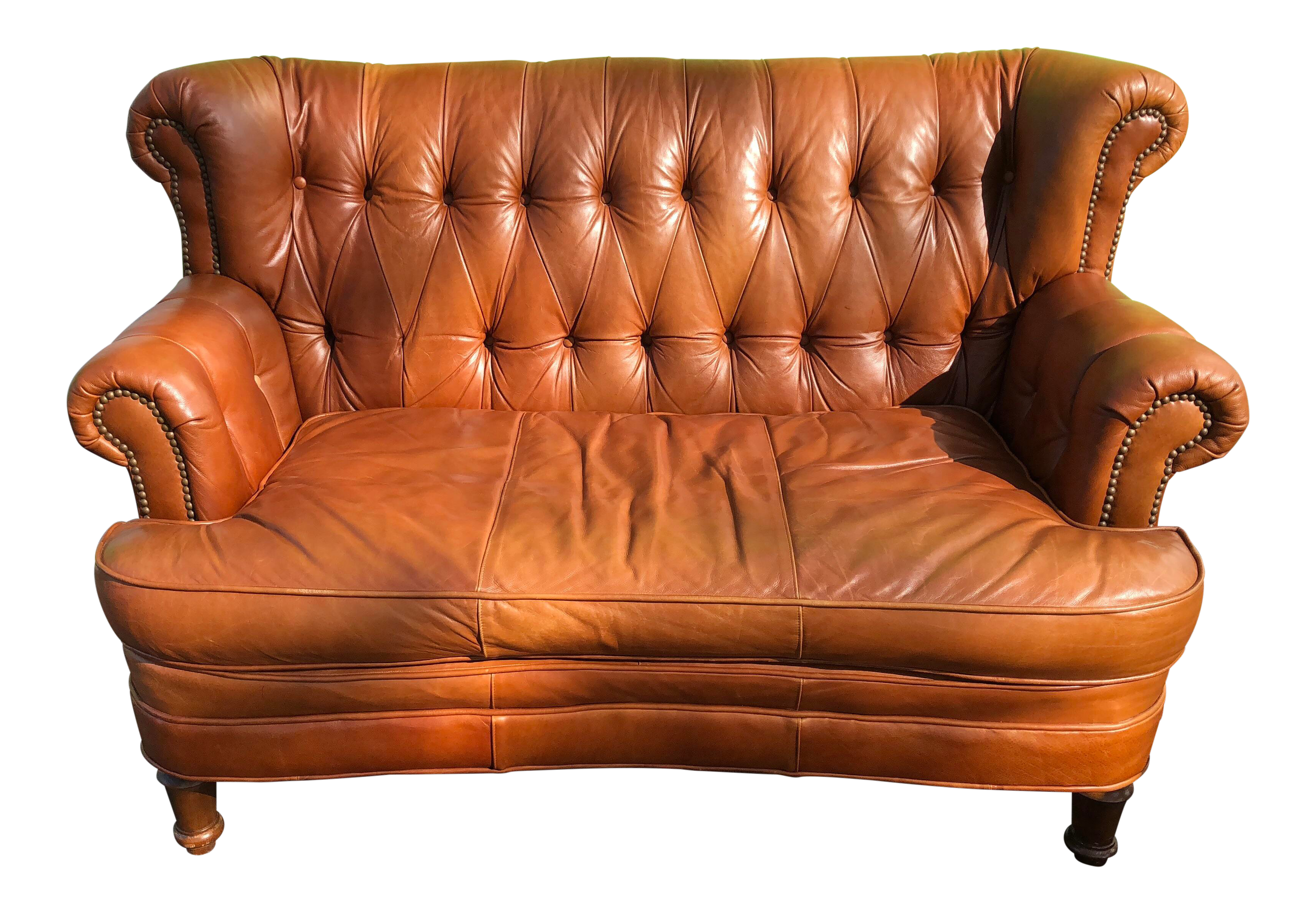 Leather Tufted Loveseat | Chairish