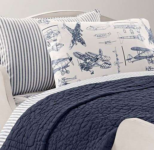 Gorgeous little boys bedding: Henley Stripe & European Vintage