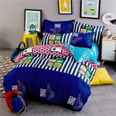 White and black music car fish horse owl girls/boys bedding set bed