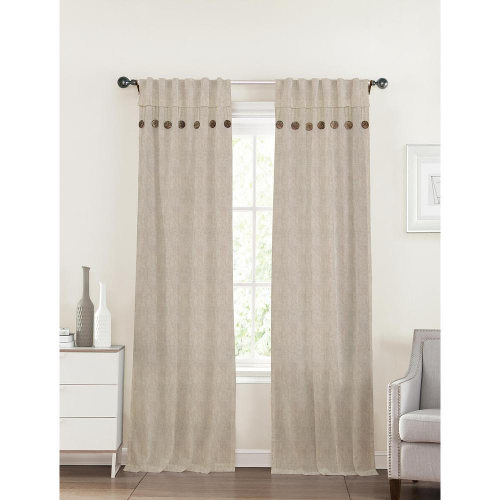 40 in. x 96 in. Eleanor Linen Tan Polyester Curtain-1104412LINEN40X96 - The  Home Depot