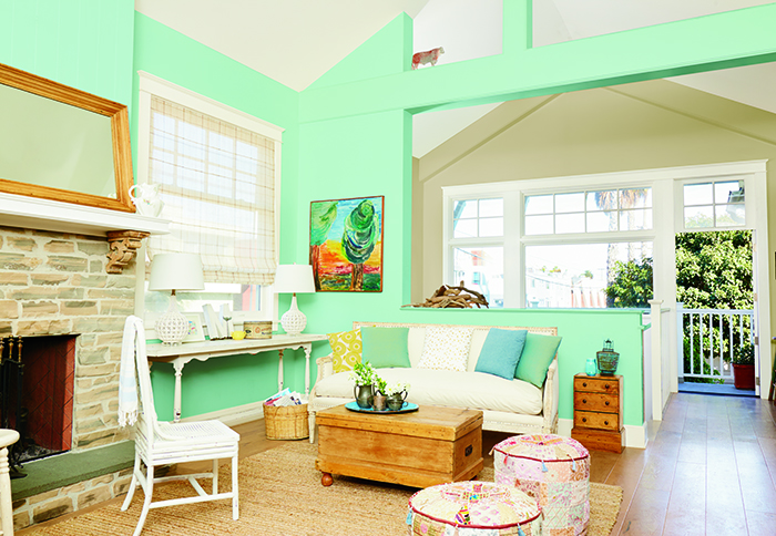 blue-green living room