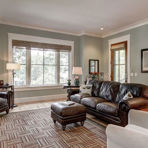 The living room wall color is Sherwin Williams