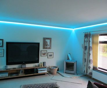 LED wall wash - install colour changing RGB LEDs into coving around