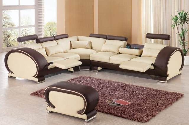 2015 designer modern top graded cow Recliner leather sofa set Living