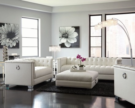Coaster Chaviano Pearl White Living Room Set - Chaviano Collection