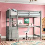 Create cool kids room with   great loft bed with desk