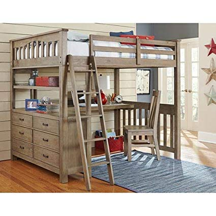 Amazon.com: NE Kids Highlands Full Loft Bed with Desk in Driftwood