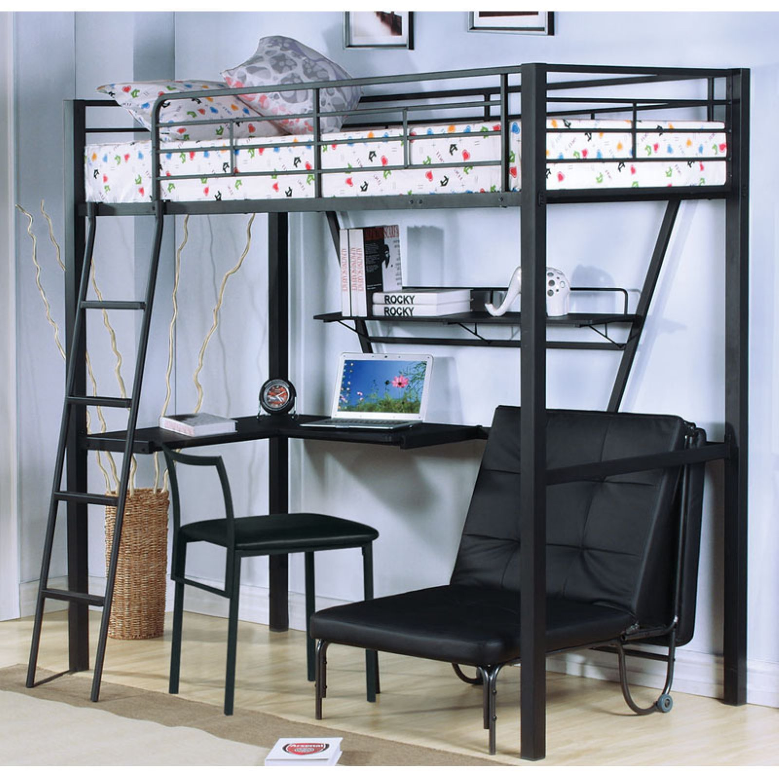 Acme Senon Loft Bed with Desk, Silver and Black - Walmart.com