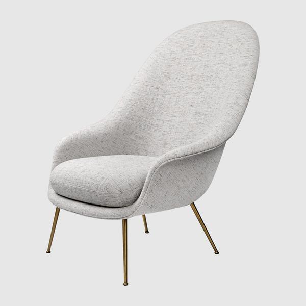 Bat Lounge Chair - Fully Upholstered, High back, Conic base u2013 GUBI