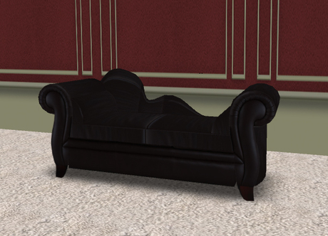 Second Life Marketplace - Fickle Designs Black Chaise Sofa Loveseat