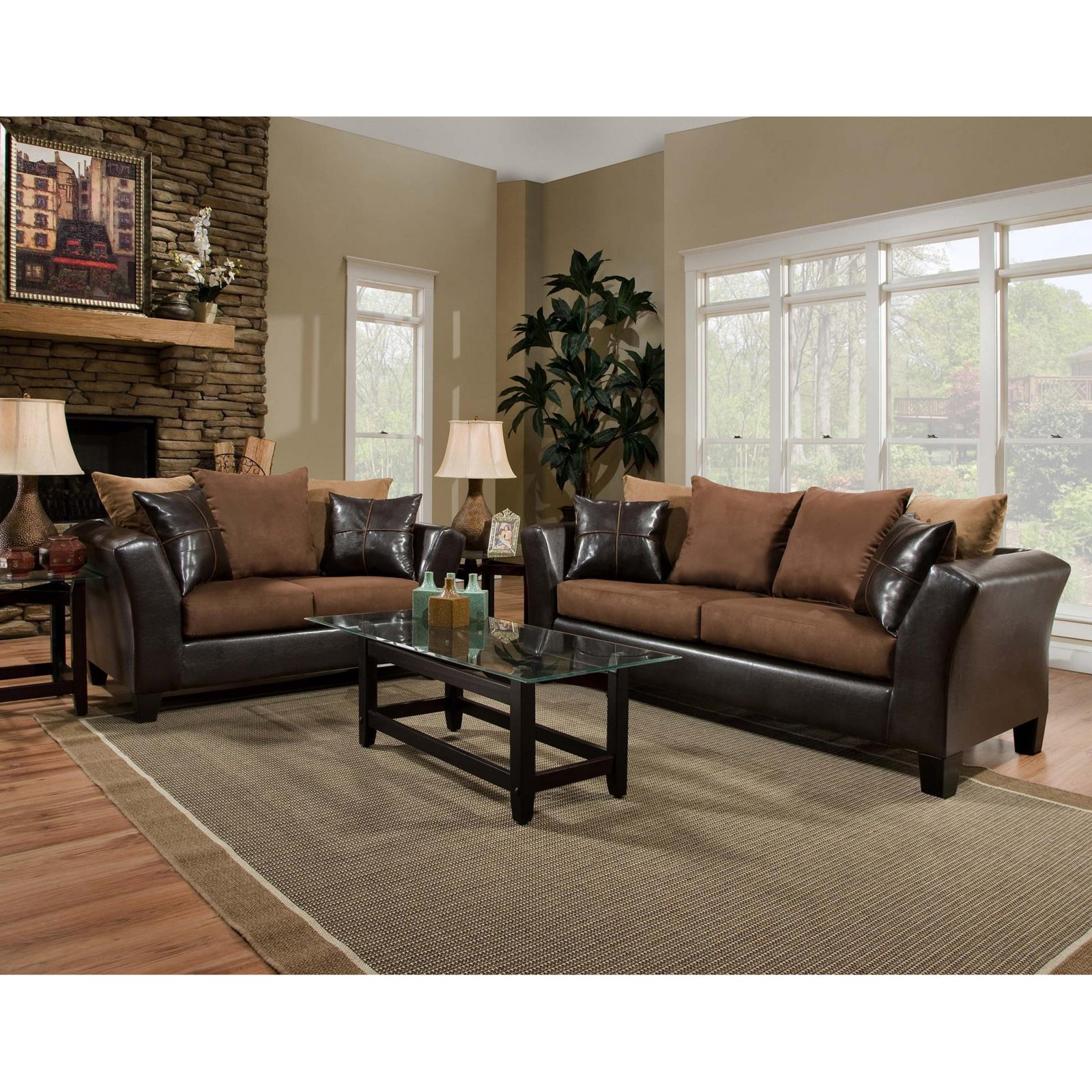 Flash Furniture Riverstone Sierra Microfiber Loveseat and Sofa Set