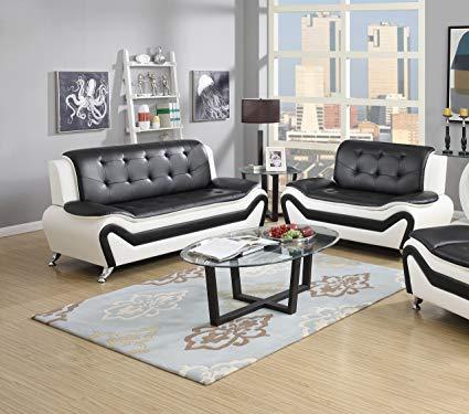 Amazon.com: US Pride Furniture 2 Piece Modern Bonded Leather Sofa