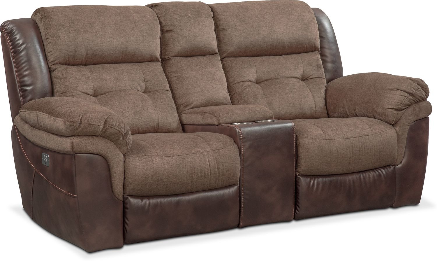 Tacoma Dual Power Reclining Loveseat with Console   Value City