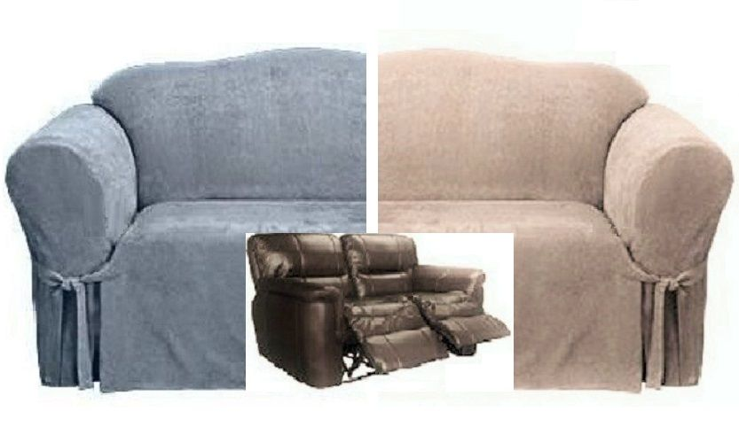Reclining LOVESEAT Slipcover Suede Blue OR Taupe Adapted for