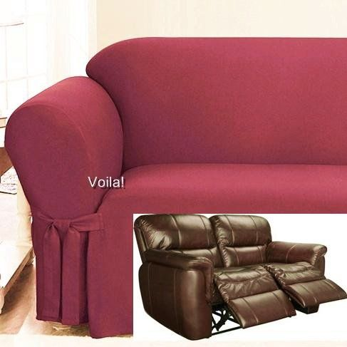 Reclining LOVESEAT Slipcover Spice Red Ribbed Texture Adapted for