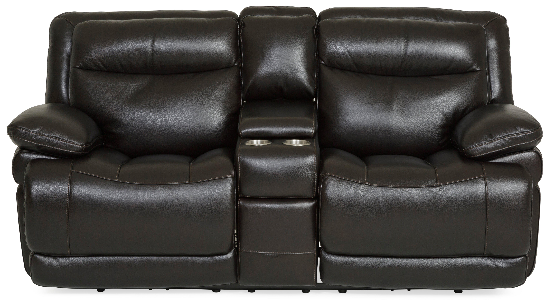 Living Room Longhorn Leather Power Reclining Loveseat - BLACKBERRY