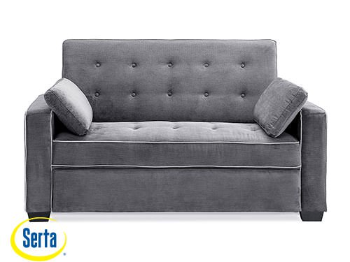 Augustine Loveseat Full Size Sleeper Moon Grey by Serta / Lifestyle