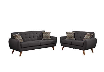 Amazon.com: Poundex F6913 Bobkona Sonya Linen-Like 2 Piece Sofa and