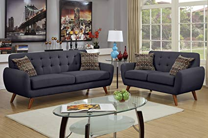 Amazon.com: 2Pcs Modern Ash Black Polyfiber Linen-Like Fabric Sofa
