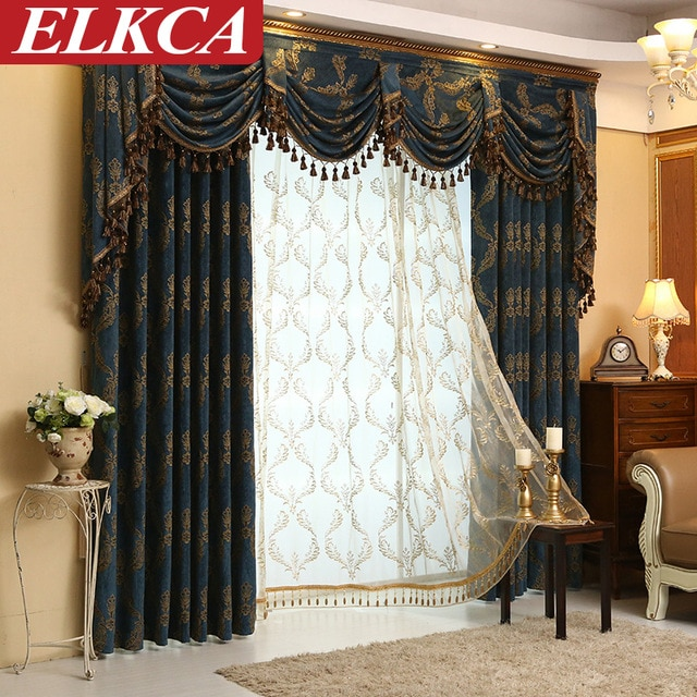 Modern Jacquard Luxury Curtains for Living Room European Curtains