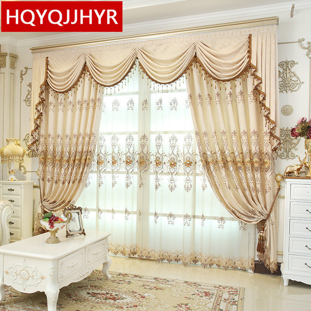 HQYQJJHYR European luxury Embroidered Blackout curtains for Living