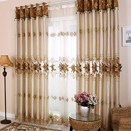 Amazon.com: Hjmeifu Embroidery Window Treatment Sets Luxury Curtains
