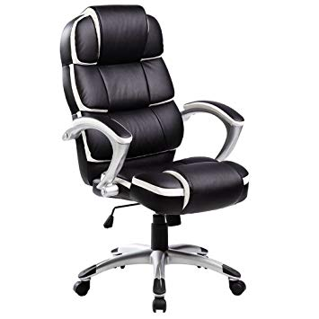 Oypla Luxury Designer Computer Office Chair - Black with White