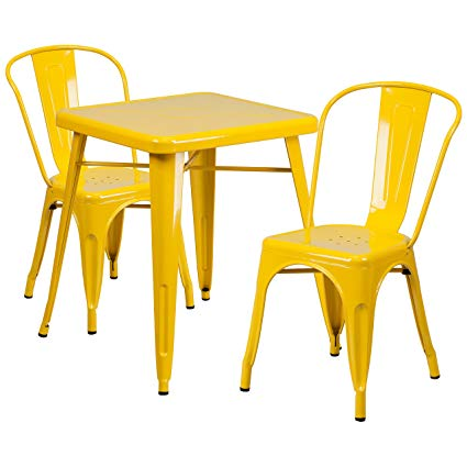 Amazon.com - Flash Furniture 23.75'' Square Yellow Metal Indoor