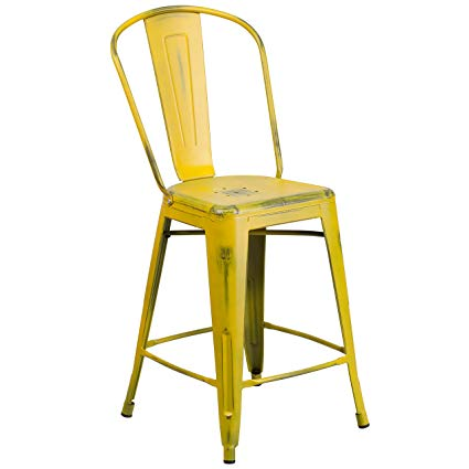 Amazon.com: Flash Furniture 24'' High Distressed Yellow Metal Indoor