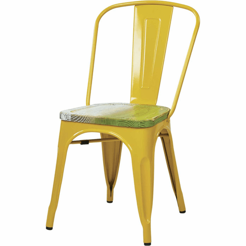 Office Star Metal Chair Yellow Pine Seat 4 Pack|Office Chairs Unlimited