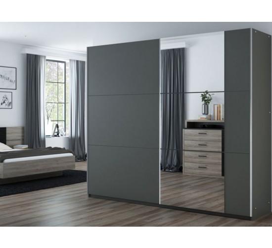 Wardrobe BASTIA 250 Graphite+Mirror - Dako Furniture