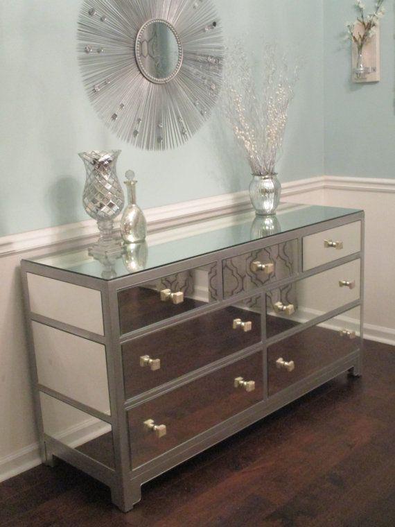 Mirrored Dresser or Buffet Silver, Modern, Mirror Dresser Rustoleum
