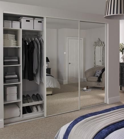 Mirrored wardrobe with sliding door closet also panel door mirror