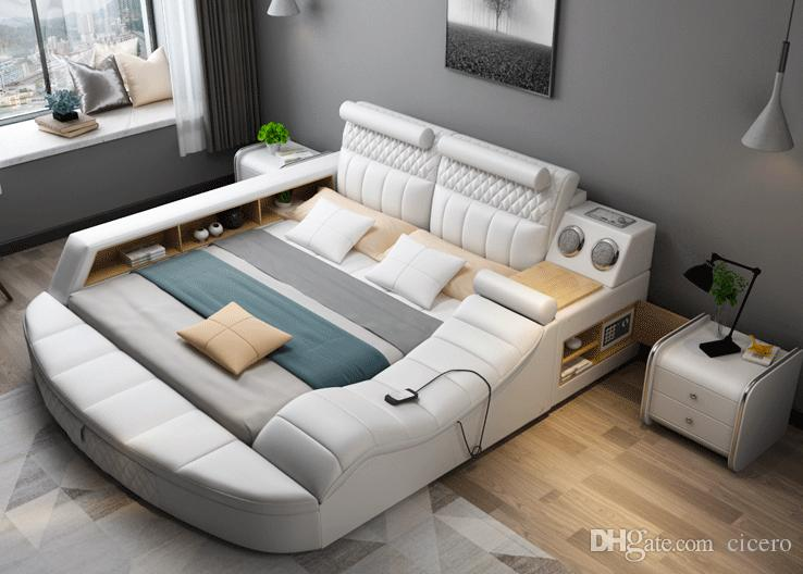 Smart Bed With Multifunction Bluetooth Massage Tatami Big Storage