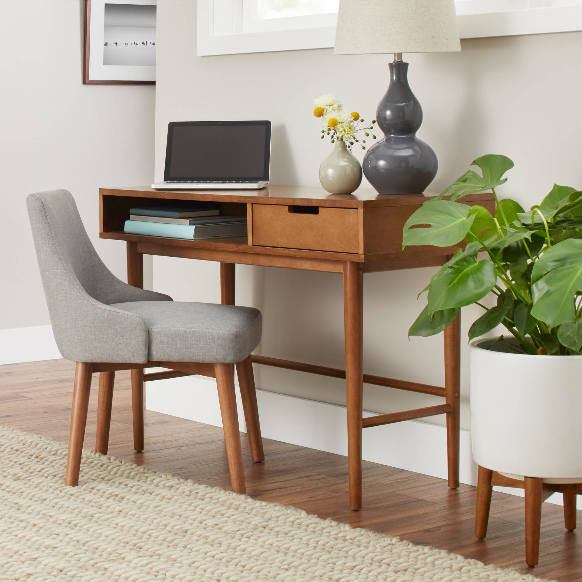 Better Homes & Gardens Flynn Mid Century Modern Desk, Pecan