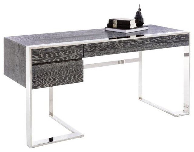 Modern Desk, German Oak Veneer and Polished Stainless Steel Base