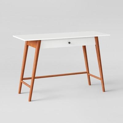 Amherst Mid Century Modern One Drawer Writing Desk White/Brown