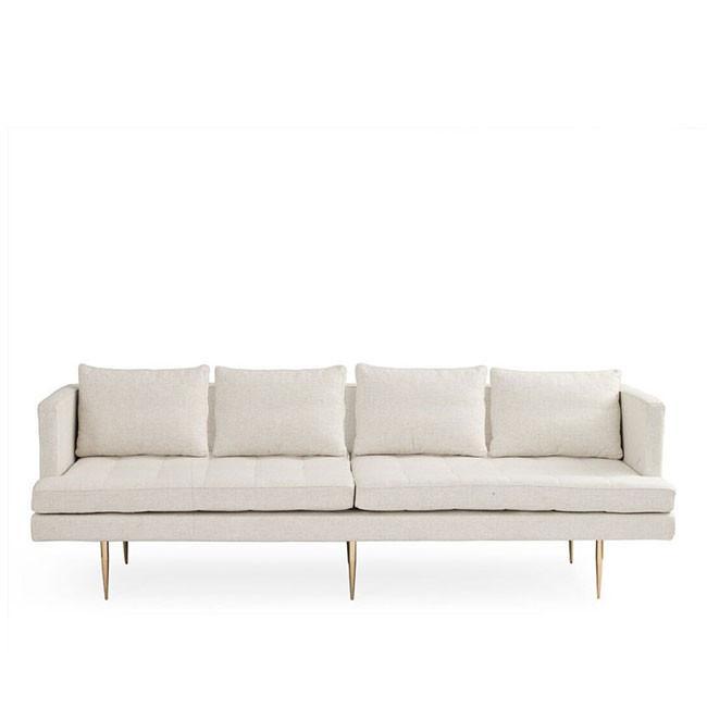 Siena A - Mid Century Modern Sofa - Fabric or Velvet | White on