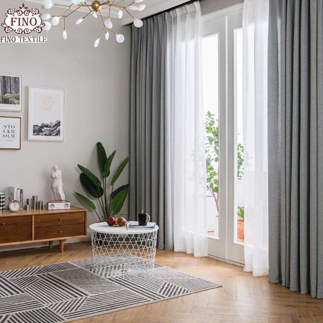 FINO Nordic Gray Solid Curtain Fabrics For Living Room Modern Window