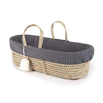 Amazon.com : Tadpoles Line Stitched Moses Basket and Bedding Set