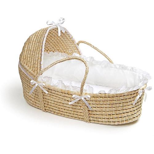 Badger Basket - Natural Moses Basket with Hood and White Bedding