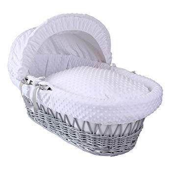 Dimple Grey Wicker Moses Basket - White: Amazon.co.uk: Baby