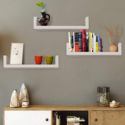 Amazon.com: Set of 3 Floating Shelves U Shape Wall Mounted Bookshelf